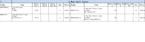 3 way ball valve list